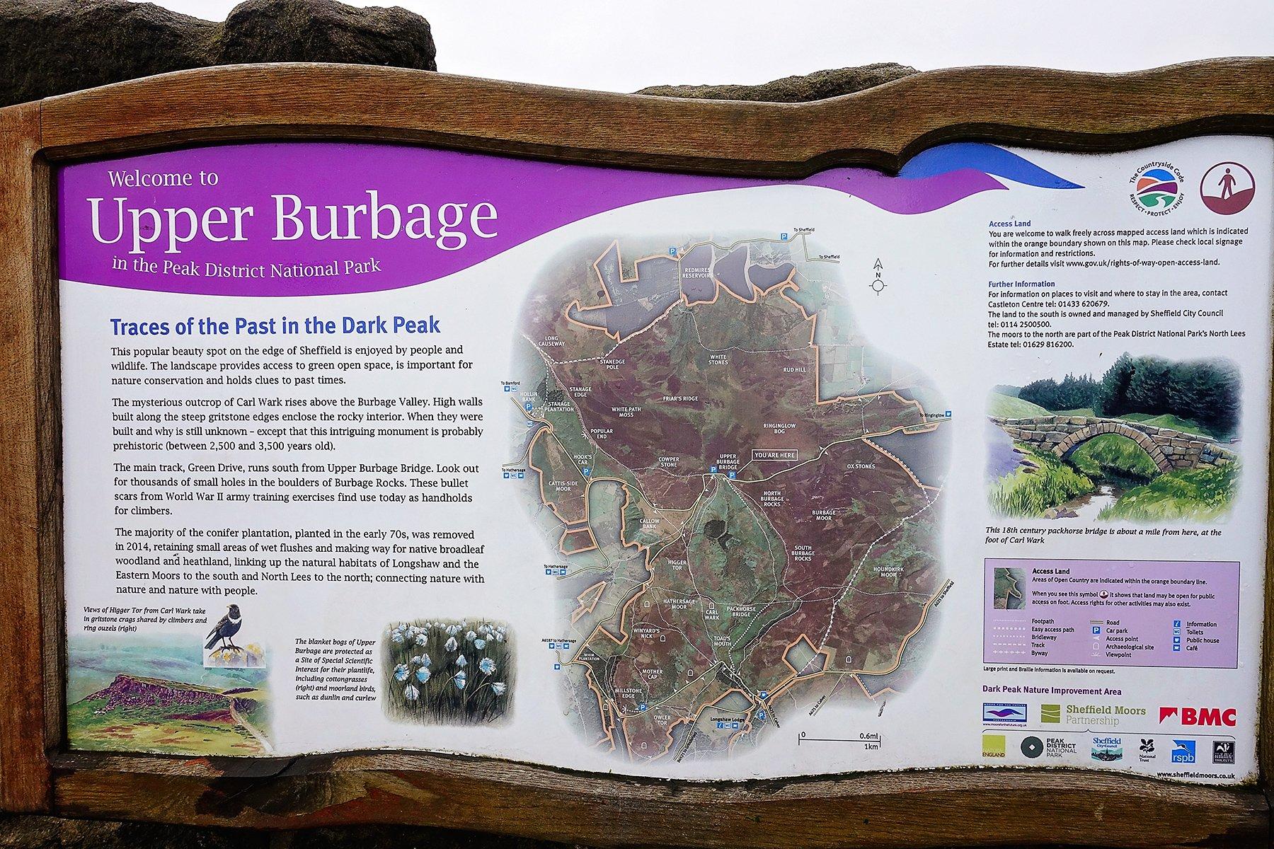 Upper Burbage information board