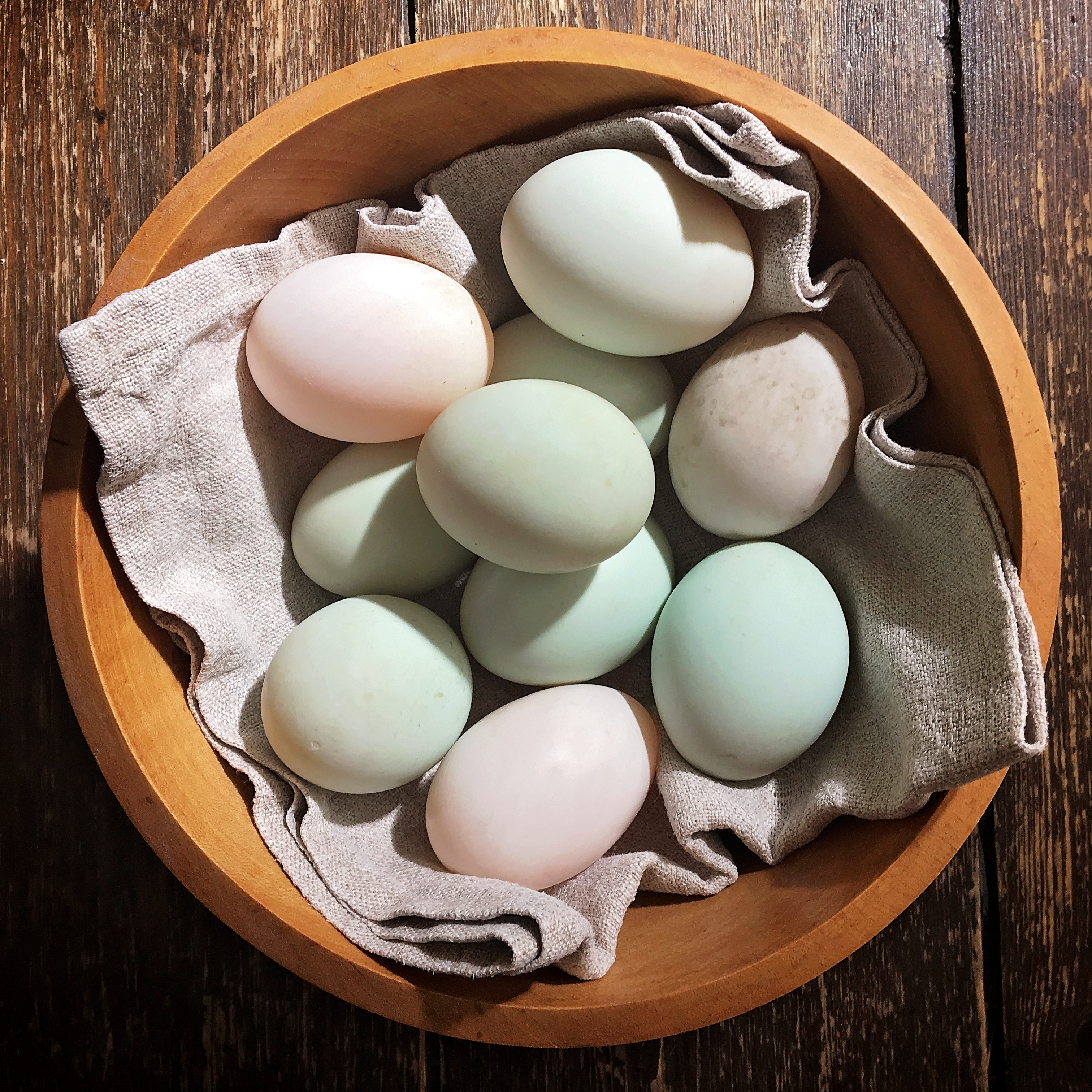 Blue and pinkish duck eggs