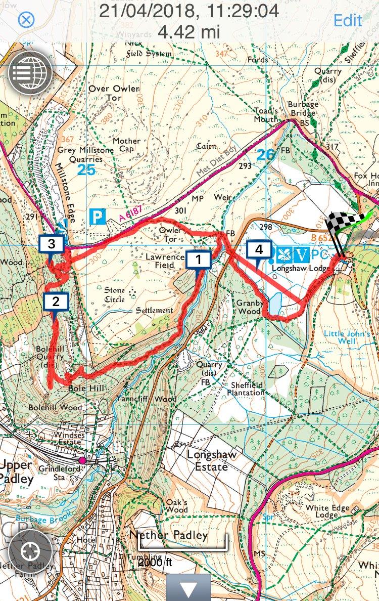 Bole Hill walk route