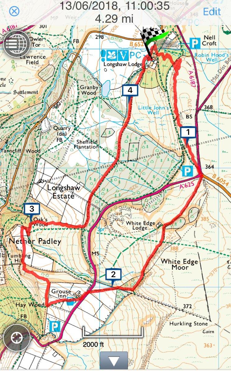 Longshaw walk route