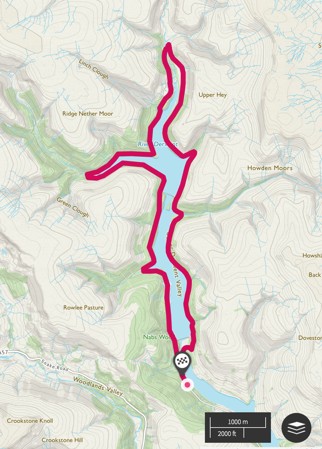 A screen shot of Upper Derwent Valley map route