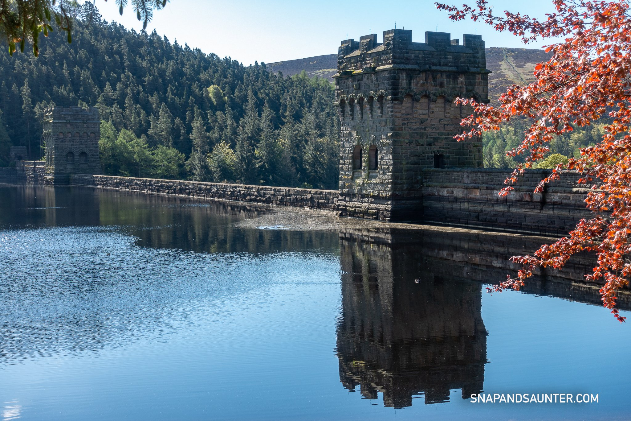 Reflection of Derwent towers in Upper Derwent Valley