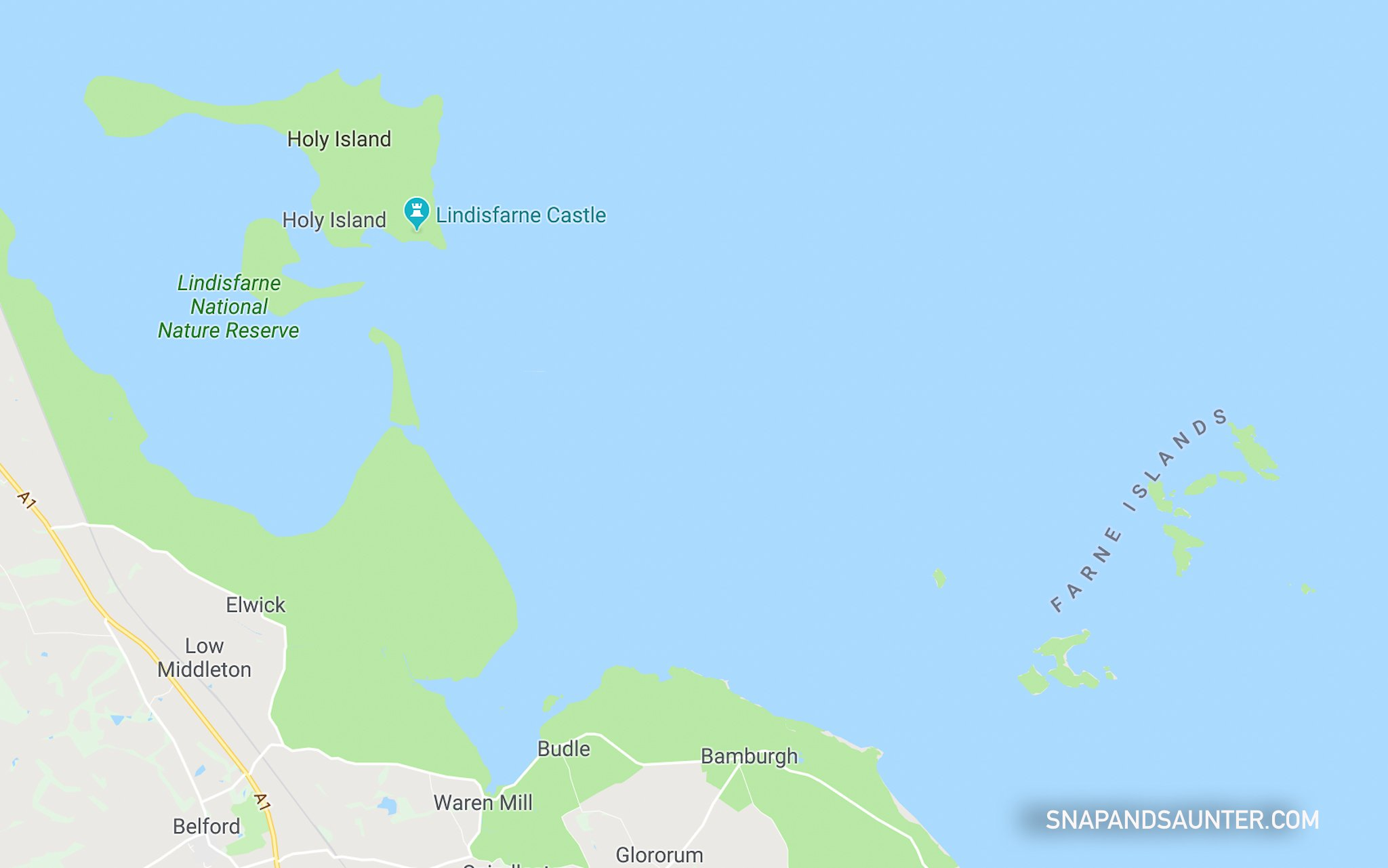 google map showing Farne Islands and Lindisfarne Island