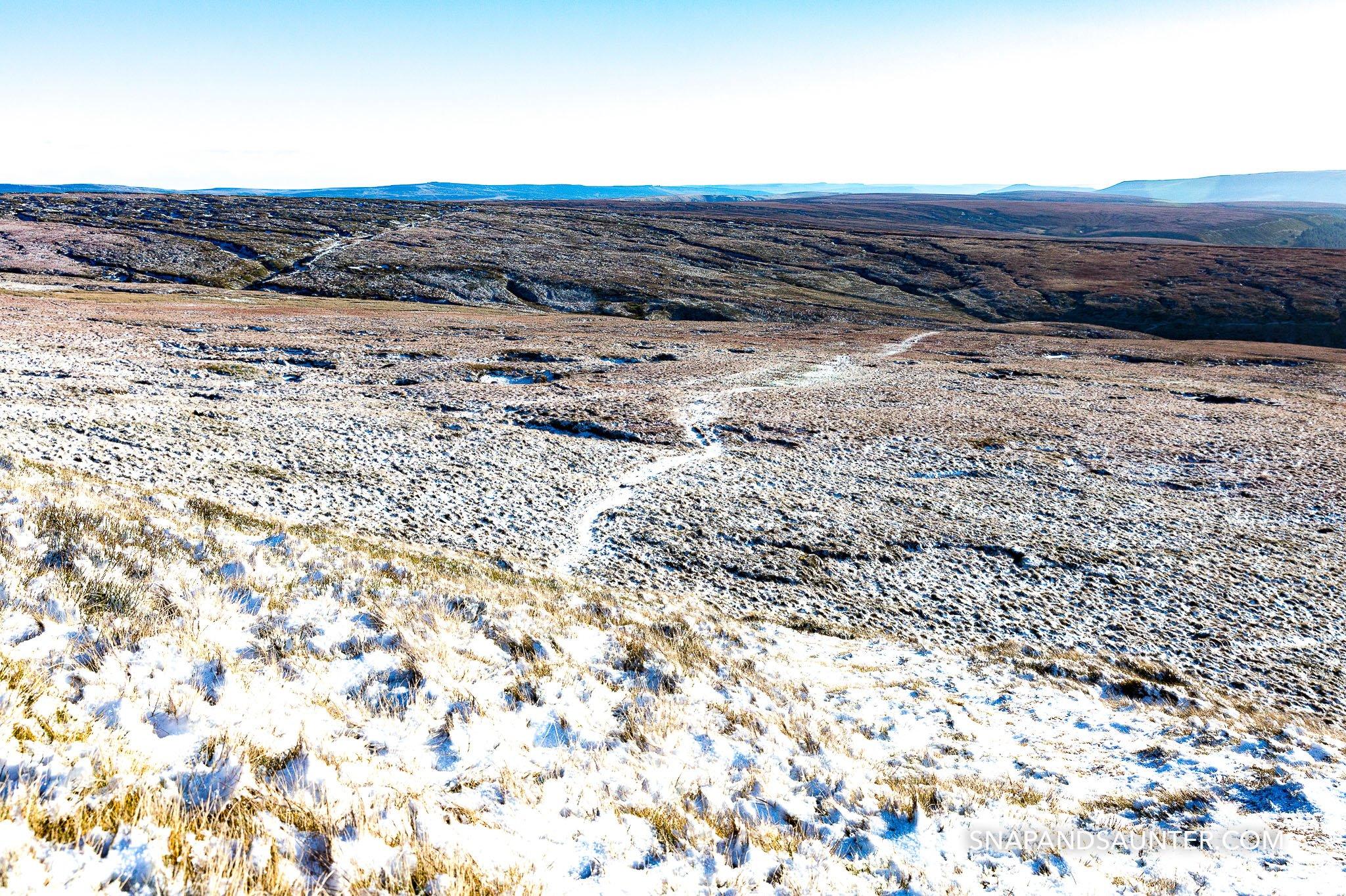 Higher Shelf Stone summit in Bleaklow in Derbyshire part of the Peak District