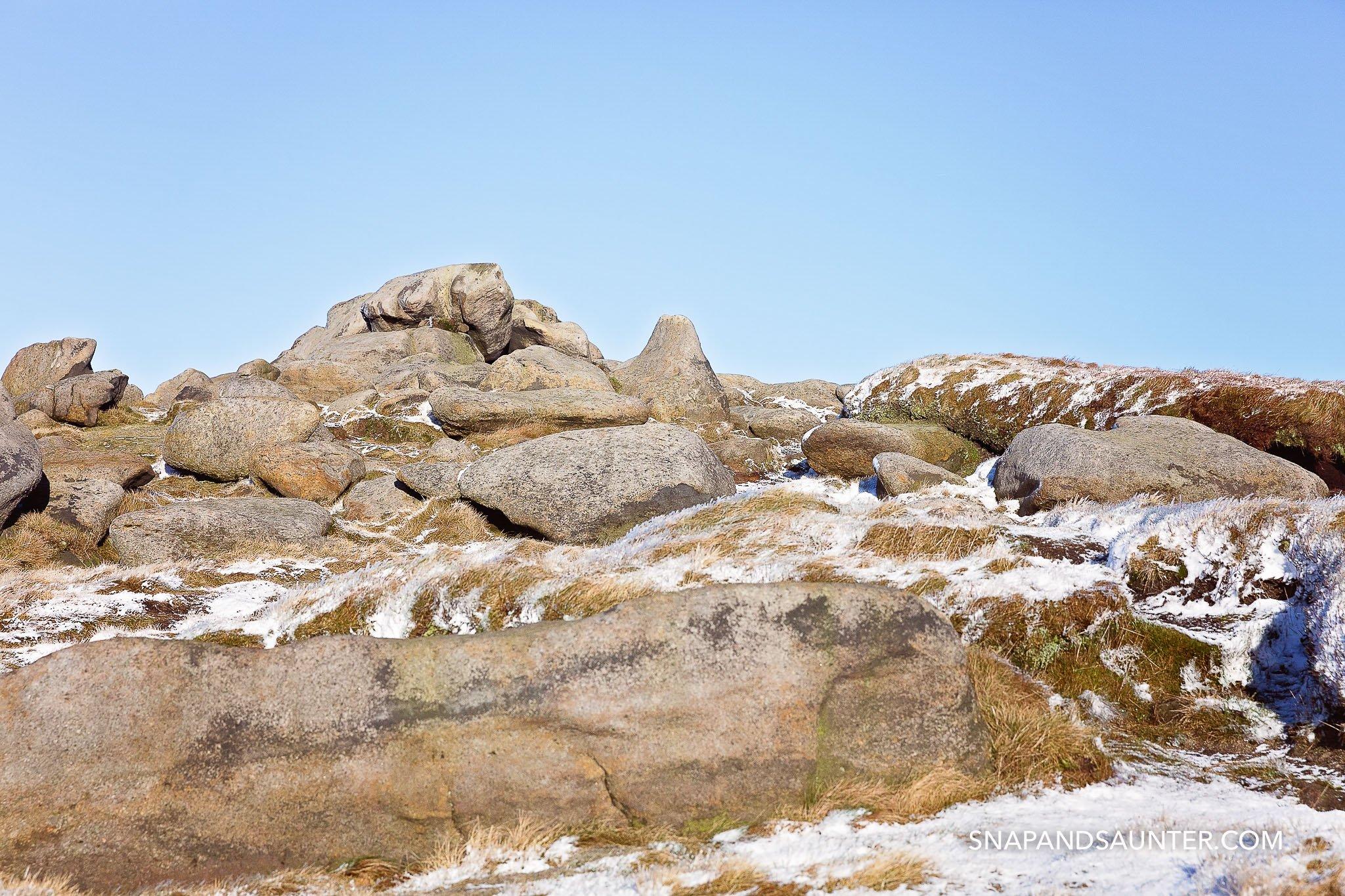 Rocks in Bleaklow in winter in Derbyshire part of the Peak District