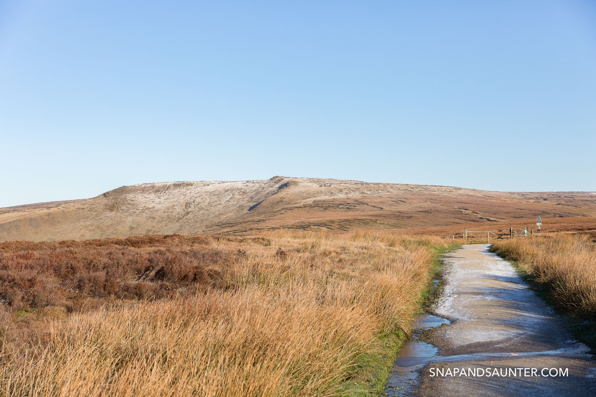 Pennine Way pathway in Bleaklow in Derbyshire part of the Peak District