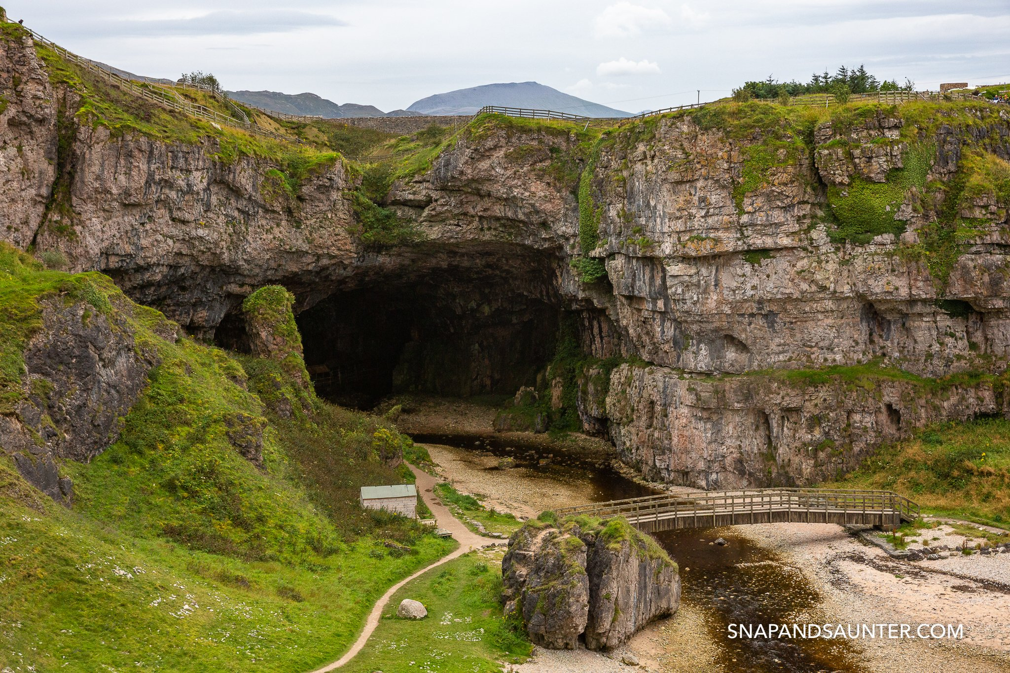Smoo cave entrance part of the North Coast 500 route in the Scottish Highlands