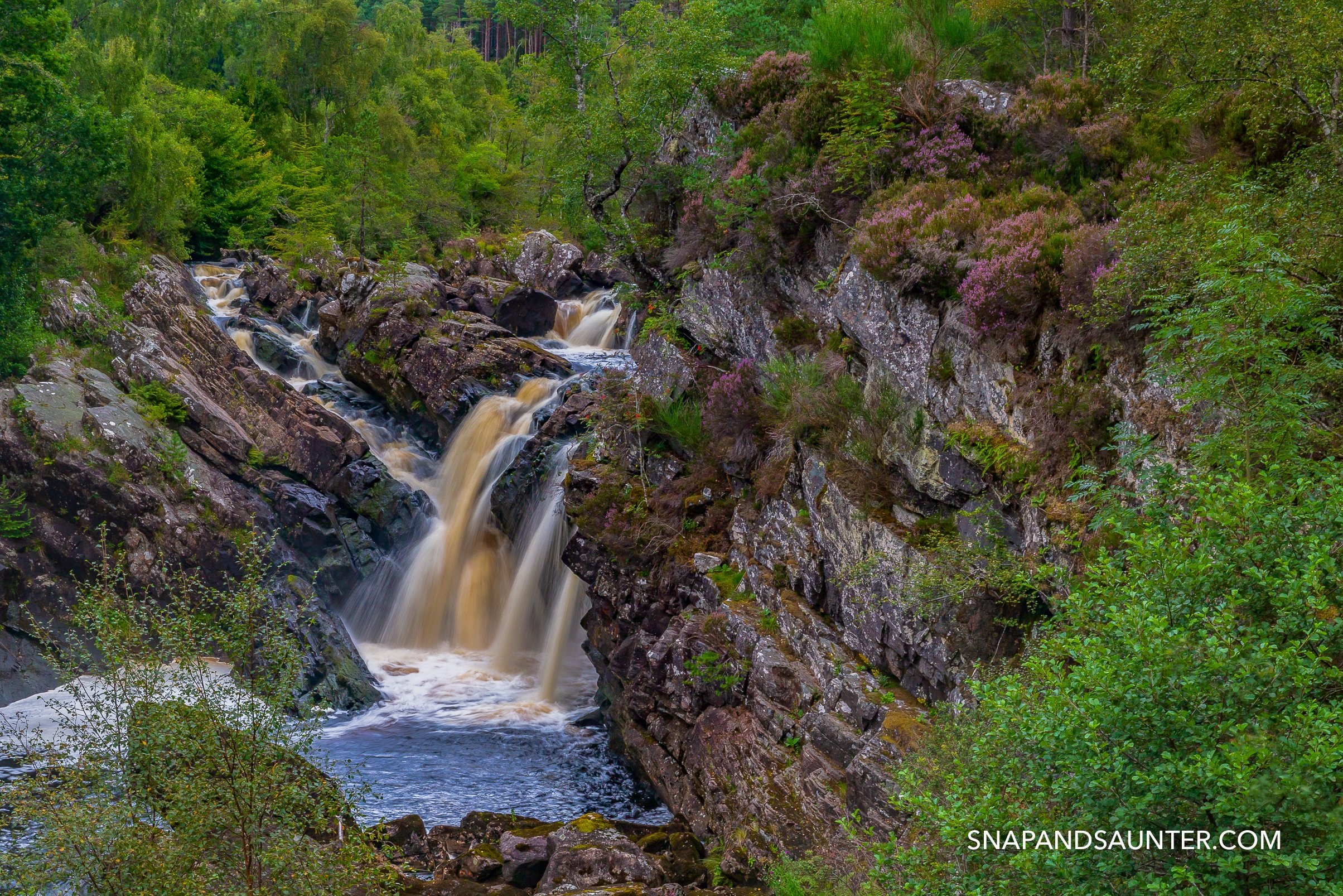 waterfall at Rogie Falls on the North Coast 500 route in Scotland