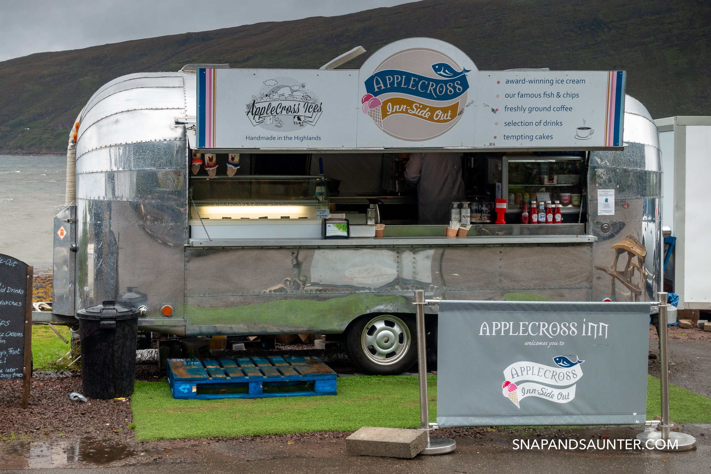 Apple Cross food van on route North Coast 500 in Scotland