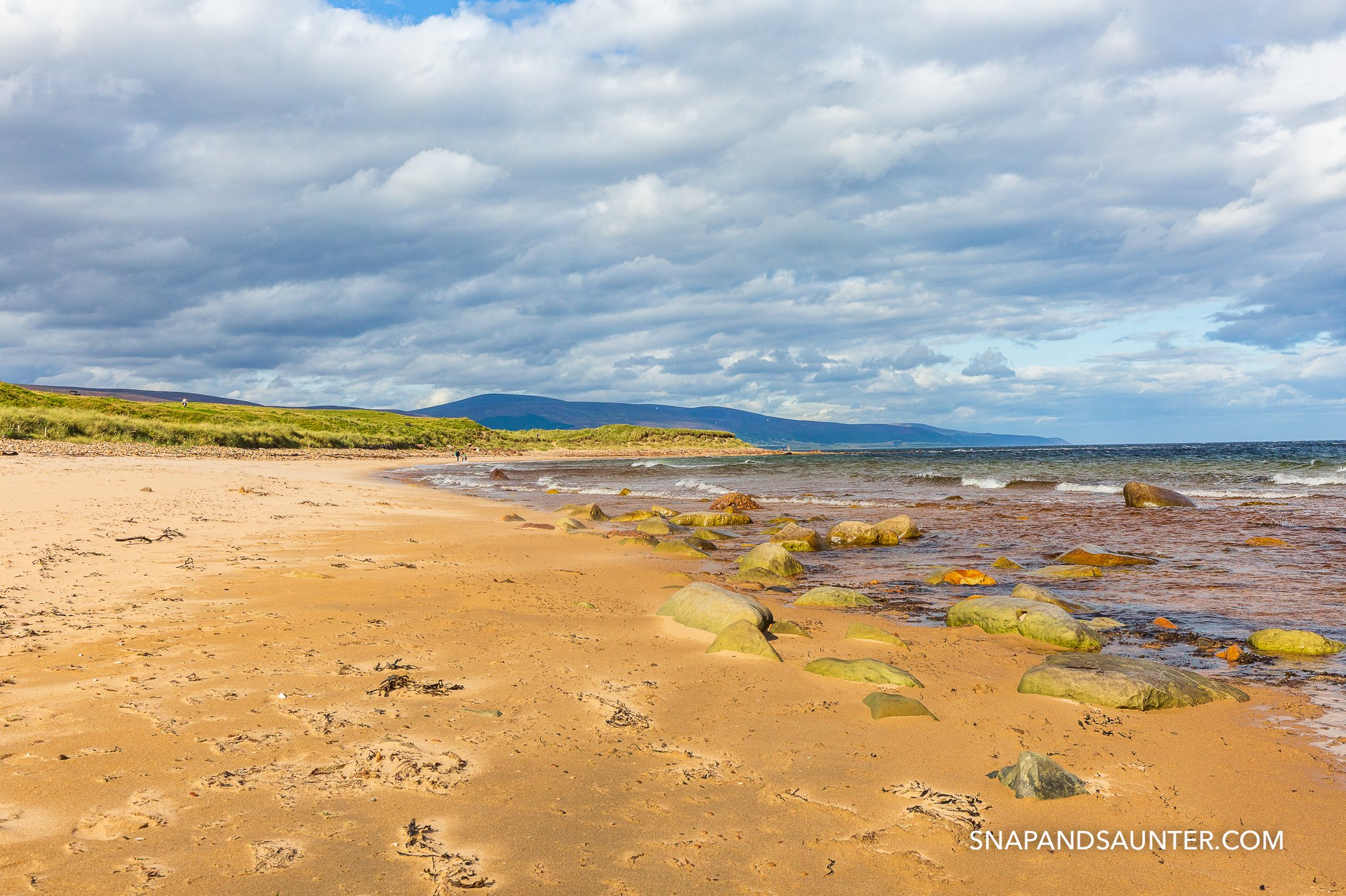Brora beach in the Scottish Highlands, North Coast 500 road trip. Snap and Saunter with Martina Hardiman.