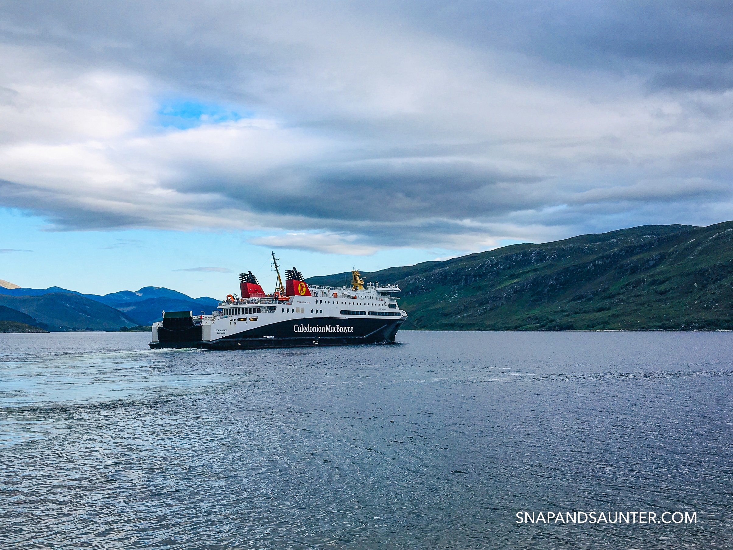 ferry departing Ullapool in Scotland