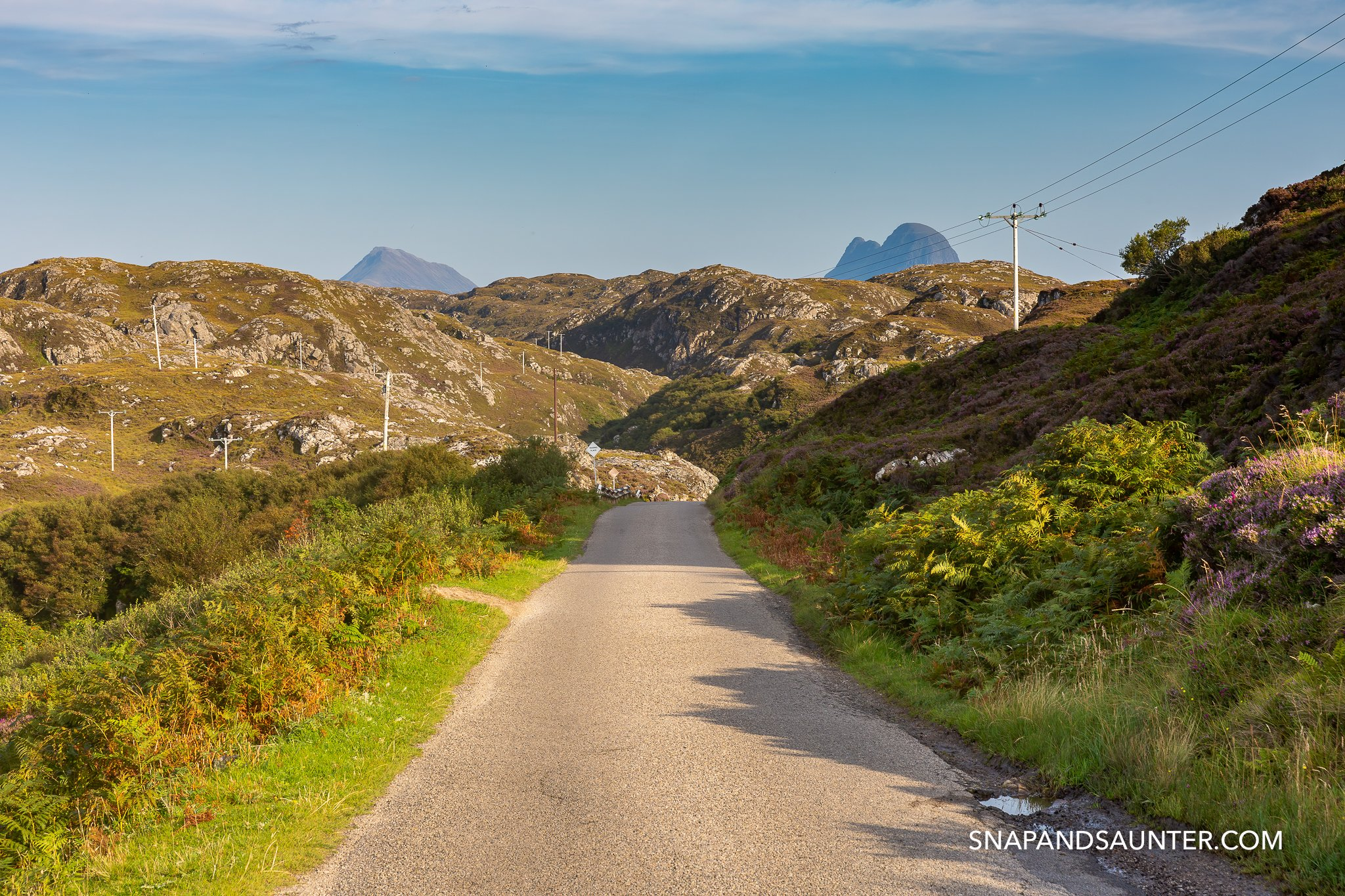 Single track road on the North Coast 500 in the Scottish Highlands in the UK