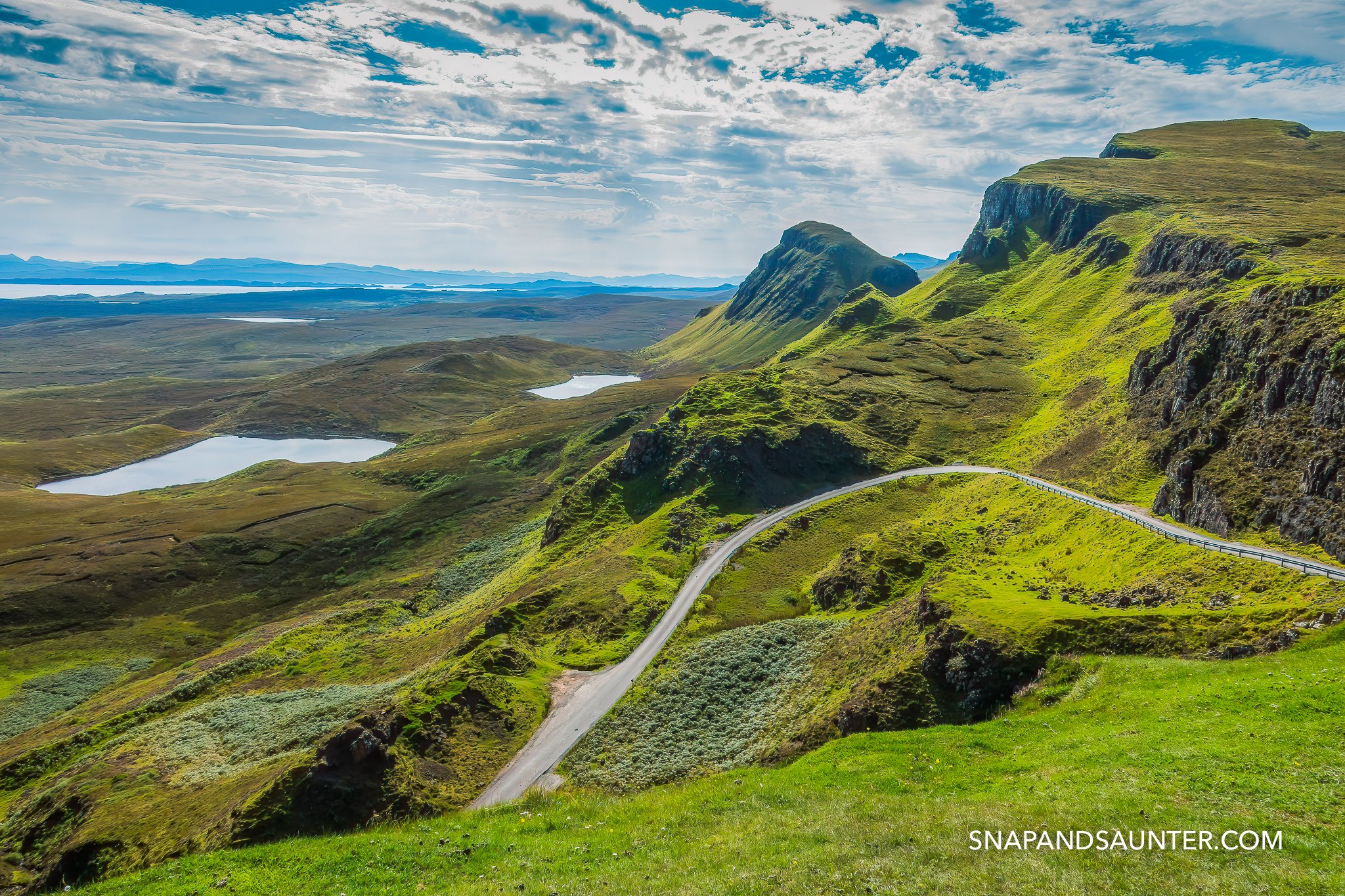 Dramatic landscape of Quiraing on the Isle of Skye in Scotland