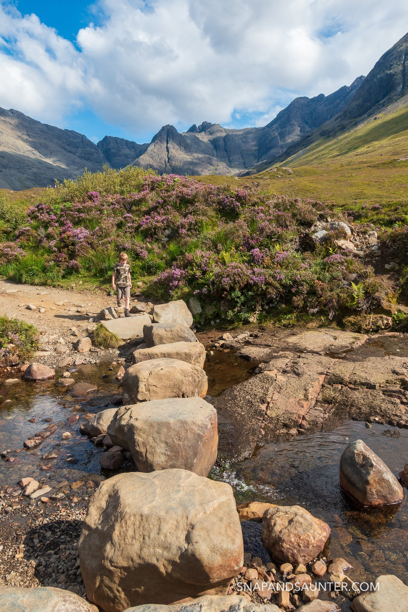 stepping stones at the Fairy Pools on the Isle of Skye in Scotland