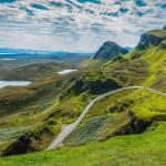 Hiking Quiraing and its dramatic landscape, Isle of Skye, Scotland