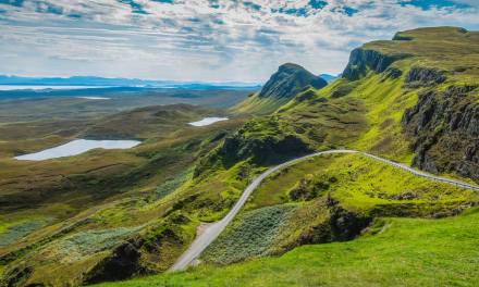 Hiking Quiraing and its dramatic landscape, Isle of Skye, Scotland
